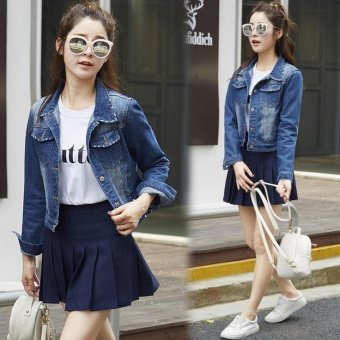 Denim Jacket For Women Short Jeans Jacket Women Slim Denim CoatLong Sleeve -Blue - Intl