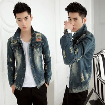 Denim Jacket Men Ripped Holes Jeans Coats Male Slim Fit MotorcycleWindbreak Jackets For Men -Blue - Intl