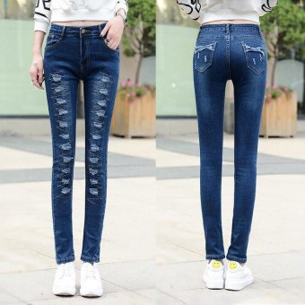 Denim Pants patch ripped jeans for women Hole Elastic Ladies SkinnyPencil Trousers -Dark blue - Intl