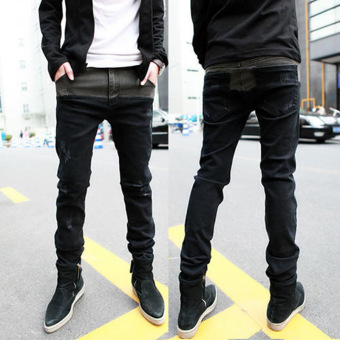 designer Brand new men black jeans skinny ripped Stretch Slimfashion hip hop swag man casual denim biker pants overalls Jogger-black - Intl