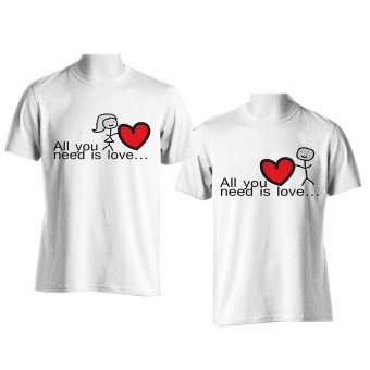 DesignPlus All You Need is Love Couple T-Shirt (White) Price Philippines