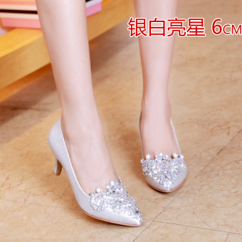 Diamond silver in with wedding shoes (6 cm silver diamond Models)