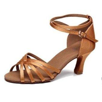 DIKE High Quality Women s Sandals Satin 5.4CM Heel Salsa Ballroom Latin  Dance shoes Brown - 939a494b67d6