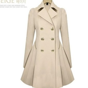 Double-Breasted Trench Coats Women Winter Outwear Clothing-apricot- intl