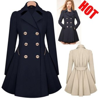 Double-Breasted Trench Coats Women Winter Outwear Clothing-black -intl