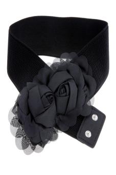 Double Rose Flower Buckle Style Elastic Belt Waistband (Black)