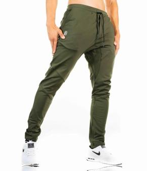 Dr. men's running training basketball clothing fitness pants (Dark green color) (Dark green color)