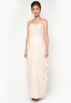Draped Long Gown (Beige) - picture 2