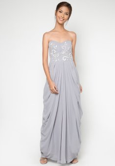 Draped Long Gown (Grey)
