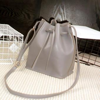 Drawstring Bucket Sling Bag PU Faux Leather Adjustable Strap - Grey