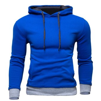 Drawstring Men's Hooded Casual Sweater Royal Blue