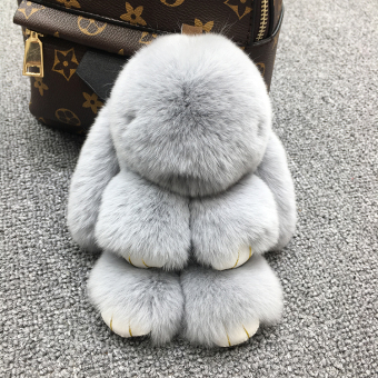 Dress dead rabbit fur velvet bunny school bag car key chain (Light gray color)