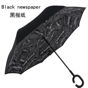 Drop Shipping Windproof Reverse Folding Double Layer Inverted ChuvaUmbrella Self Stand Rain Protection C-Hook Hands For Car(Black) -intl