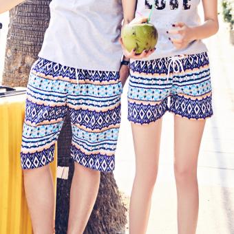Duolezi Couple Print Cotton Short Sleeve T-Shirt & Quick Dry Shorts (Shorts the dress (one-piece))