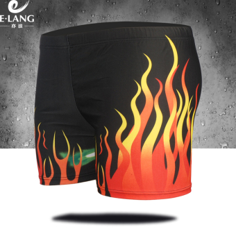 E Shishang men's Plus-sized quick-drying swimming clothing boxer swimming trunks (5132 fire)