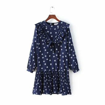 E11 sweet outer New style flounced chiffon long-sleeved dress
