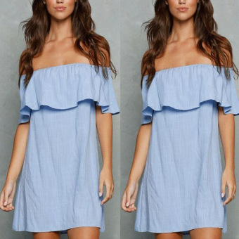 Ebay European and American blue horizontal neck off-the-shoulder dress