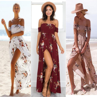 Ebay wish2017 European and American horizontal neck flower printed dress (Wine red color)
