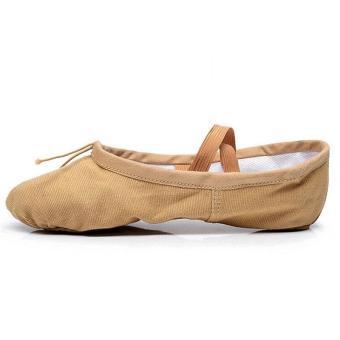 Elastic Canvas Ballet Slippers Yoga Dance Shoes for Kids (Khaki - 4