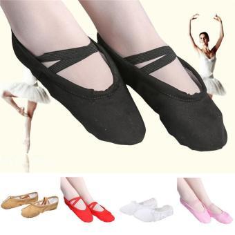 Elastic Canvas Ballet Slippers Yoga Dance Shoes for Kids (Khaki - 2