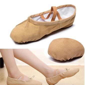 Elastic Canvas Ballet Slippers Yoga Dance Shoes for Kids (Khaki - 5