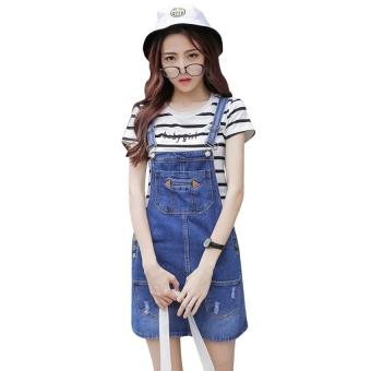 Elegant jeans blue jumpsuits casual romper for women summerplaysuits vintage sexy denim shorts overall - intl
