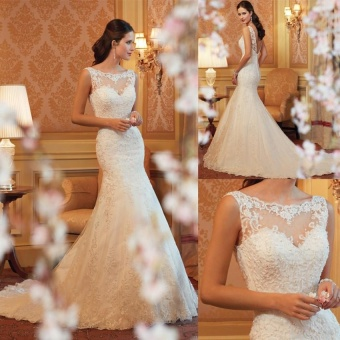 Elegant Luxury Flower Appliques Mermaid Sleeveless Slim Wedding Dress Bridal Wedding Gown - intl