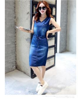 Elegant New Women Summer Vintage Frayed Leisure V-neck Denim Slim Midi Dress - intl - 5