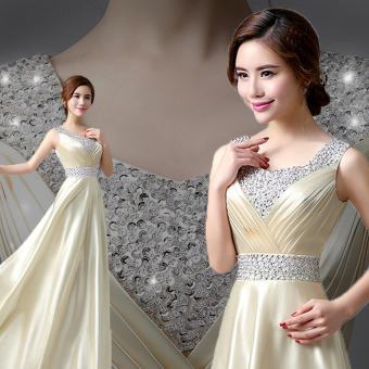 Elegant noble evening dress female New style dress (Champagne color)