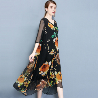 Elegant retro v-neck Print loose chiffon dress (Black)