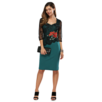 Elegant Sweetheart Neck Floral Embroidery Sheath Dress for Women(Green)