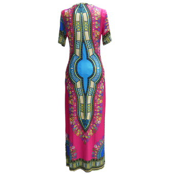 Elegant Thailand National Style Flora Print Casual Dresses Long Traveling Wild Party Dress - 2