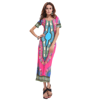 Elegant Thailand National Style Flora Print Casual Dresses Long Traveling Wild Party Dress - 4