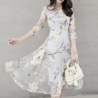 Elegant Women Organza Floral O-Neck Long Party Dress - 4