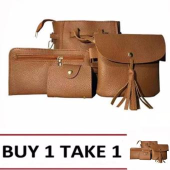 Elena 0011 Premium Bag Set (Brown) Buy1 Take1