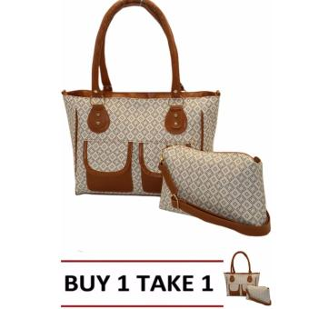 Elena 5117 Shoulder Bag Set Square Design(Cream/Brown) Buy1 Take1