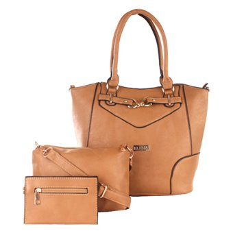 Elena 5390A Shoulder Bag with Sling Bag and Wallet (Apricot)
