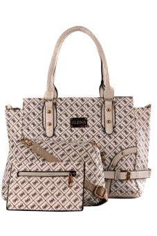 Elena 6839 Shoulder Bag with Sling Bag and Wallet (White)