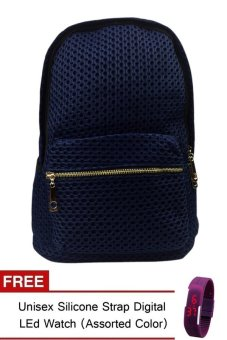 Elena 9007 Backpack (Navy Blue) With Free Unisex Silicone Strap Digital Led Watch