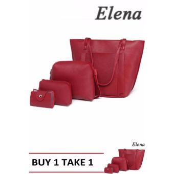Elena K038 Pebbled Leather Shoulder Bag 4 in 1(Red) BUY1 TAKE1