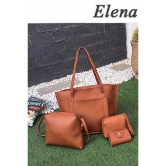 Elena K038 Pebbled Leather Shoulder Bag 4 in 1(Tan)