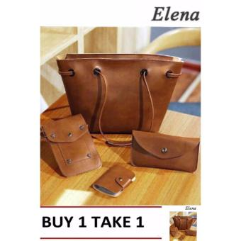 Elena K039 Pebbled Leather Shoulder Bag 4 in 1(Brown) BUY1 TAKE1