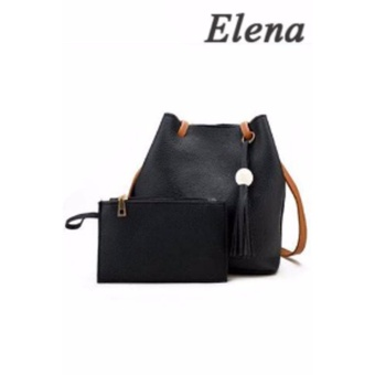 Elena Korean 2 in 1 Bucket Bag and Make up Pouch Sling Bag (Black)