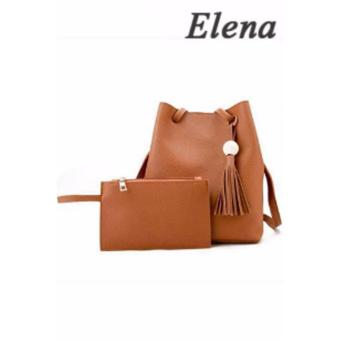 Elena Korean 2 in 1 Bucket Bag and Make up Pouch Sling Bag (Tan)