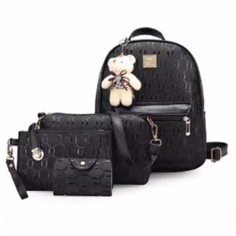 Elena Korean 4 in 1 Backpack Set (Black)