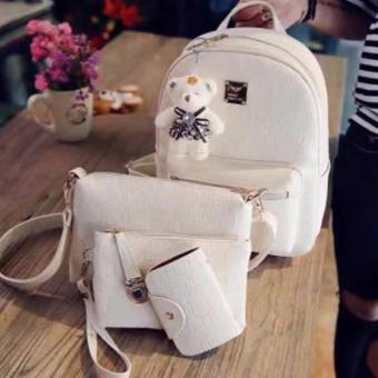 Elena Korean 4 in 1 Bagpack Set (White)