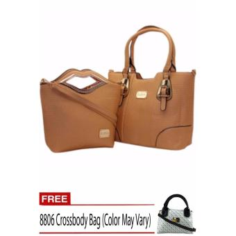 Elena X-11031 Premium Bag Set (Apricot) With Free 8806 Crossbody Bag (Color May Vary)