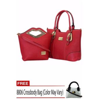 Elena X-11031 Premium Bag Set (Red) With Free 8806 Crossbody Bag (Color May Vary) Price Philippines