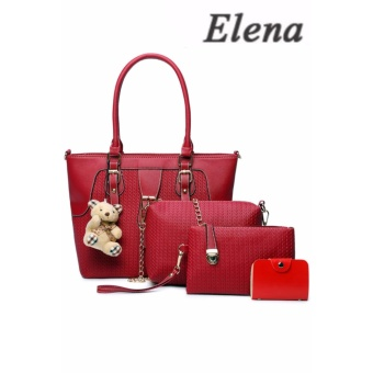 Elena X-518 5 in 1 Premium Bag Set (Red)With Mini Teddy
