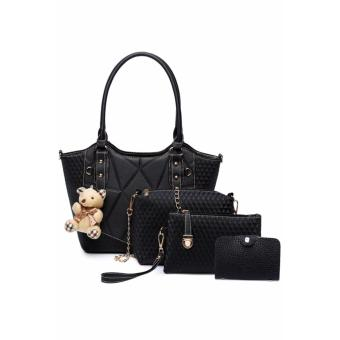 Elena X-520 5 in 1 Premium Bag Set (Black)With Mini Teddy